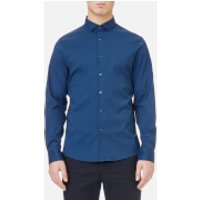 Michael Kors Mens Slim Fit Spread Collar Stretch Nylon Poplin Shirt - Admiral Blue - XXL - Blue