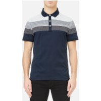 Michael Kors Men's Multi Texture Stripe Yolk Block Polo Shirt - Midnight - XXL - Blue