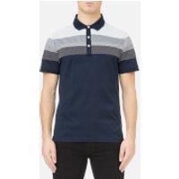Michael Kors Mens Multi Texture Stripe Yolk Block Polo Shirt - Midnight - XXL - Blue