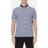 Michael Kors Mens Stripe Greenwich Logo Jacquard Polo Shirt - Bright Navy - XXL - Navy