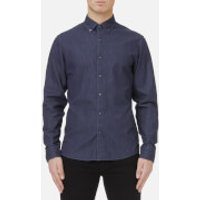 Michael Kors Mens Slim Fit Clean Dark Washed Denim Shirt - Dark Wash - M - Blue