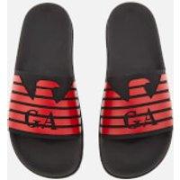 Emporio Armani Men's Slide Sandals - Black/Red - UK 7 - Red
