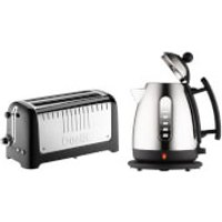 Dualit Jug Kettle and 4 Slice Long Slot Toaster Bundle - Black