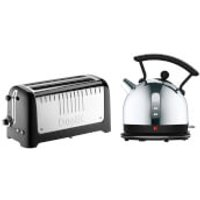 Dualit Dome Kettle and 4 Slice Long Slot Toaster Bundle - Black