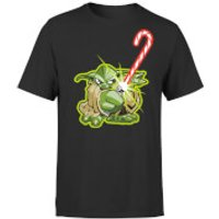 Star Wars Christmas Candy Cane Yoda Black T-Shirt - S - Black