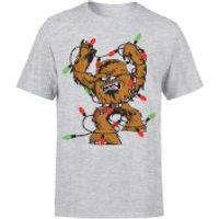 Star Wars Christmas Chewbacca Tangled Fairy Lights Grey T-Shirt - M - Grey