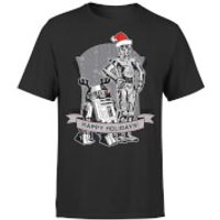 Star Wars Christmas Happy Holidays Droids Black T-Shirt - M - Black