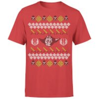 Star Wars Christmas Yoda Face Sabre Knit Red T-Shirt - L - Red
