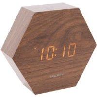 Karlsson Hexagon Alarm Clock - Dark Wood Veneer - Orange LED - Karlsson Gifts