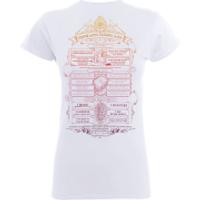 Harry Potter Hogwarts School List Women's White T-Shirt - XXL - White - Harry Potter Gifts
