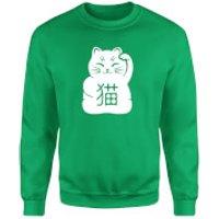 Lucky Cat Sweatshirt - Kelly Green - L - Kelly Green