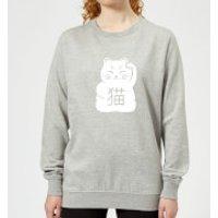 Image of Lucky Cat Women's Sweatshirt - Grey - XS - Grey