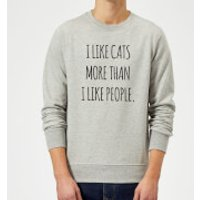 I Like Cats More Than People Sweatshirt - Grey - S - Grey