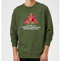 I'm Only A Morning Person Sweatshirt - Forest Green - M - Black
