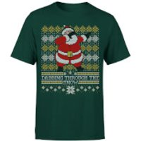 Dabbing through the snow Fair Isle T-Shirt - Forest Green - M - Forest Green