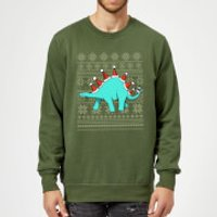 Stegosantahats Sweatshirt - Forest Green - L - Red