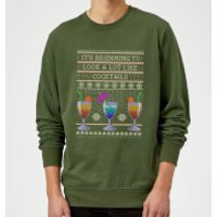 Its Beginning To Look A Lot Like Cocktails Sweatshirt - Forest Green - XXL - Black - Cocktails Gifts