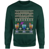 Its Beginning To Look A Lot Like Cocktails Sweatshirt - Forest Green - S - Black - Cocktails Gifts