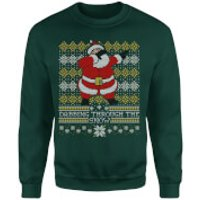 Dabbing through the snow Fair Isle Sweatshirt - Forest Green - M