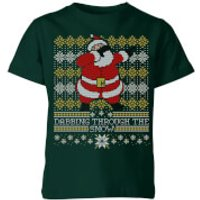 Dabbing through the snow Fair Isle Kids' T-Shirt - Forest Green - 7-8 Years - Forest Green