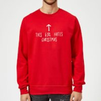 This Girl Hates Christmas Sweatshirt - Red - S - Red