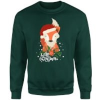 Christmas Fox Hello Christmas Sweatshirt - Forest Green - XL - Grey