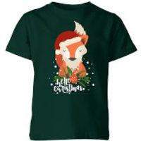 Christmas Fox Hello Christmas Kids' T-Shirt - Forest Green - 3-4 Years - Forest Green