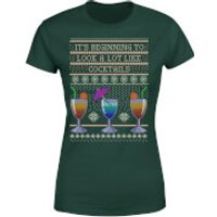 Its Beginning To Look A Lot Like Cocktails Women's T-Shirt - Forest Green - S - Forest Green - Cocktails Gifts