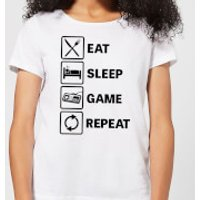 Eat Sleep Game Repeat Women's T-Shirt - White - M - White