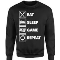 Eat Sleep Game Repeat Sweatshirt - Black - S - Black