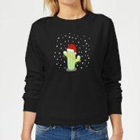 Cactus Santa Hat Women's Sweatshirt - Black - M - Schwarz