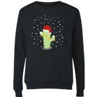 Cactus Santa Hat Women's Sweatshirt - Black - S - Schwarz