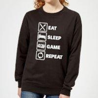 Eat Sleep Game Repeat Women's Sweatshirt - Black - M - Black