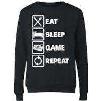 Eat Sleep Game Repeat Women's Sweatshirt - Black - S - Black