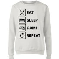 Eat Sleep Game Repeat Women's Sweatshirt - White - Xxl - White