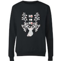 Ho Ho Ho Reindeer Women's Sweatshirt - Black - M - Schwarz