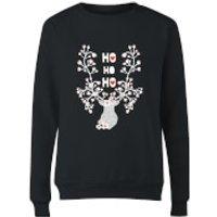 Ho Ho Ho Reindeer Women's Sweatshirt - Black - S - Black - Reindeer Gifts