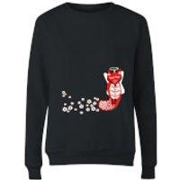 Flower Fox Women's Sweatshirt - Black - M - Black