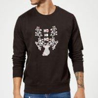 Ho Ho Ho Reindeer Sweatshirt - Black - M - Black - Reindeer Gifts