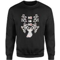 Ho Ho Ho Reindeer Sweatshirt - Black - S - Black - Reindeer Gifts