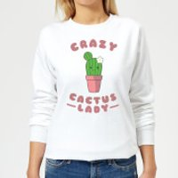 Crazy Cactus Lady Women's Sweatshirt - White - XXL - White - Crazy Gifts