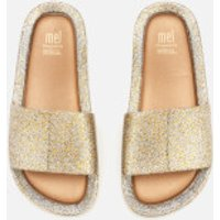 Mini Melissa Kids' Beach Slide Sandals - Gold Glitter - UK 10 Kids - Gold