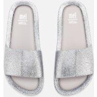 Mini Melissa Kids Beach Slide Sandals - Silver Glitter - UK 2 Kids - Silver