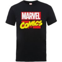 Marvel Comics Main Logo Mens Black T-Shirt - XL - Black