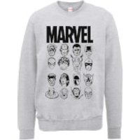 Marvel Multi Heads Mens Grey Sweatshirt - M - Grey