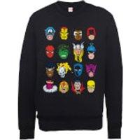 Marvel Comics Faces Colour Mens Black Sweatshirt - M - Black
