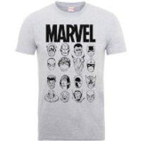 Marvel Multi Heads Mens Grey T-Shirt - S - Grey