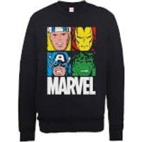 Marvel Multi Colour Main Tile Mens Black Sweatshirt - XXL - Black
