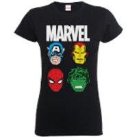 Marvel Comics Main Character Faces Womens Black T-Shirt - M - Black
