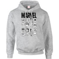 Marvel Comics Multi-Faces Men's Grey Pullover Hoodie - L - Grey - Marvel Gifts